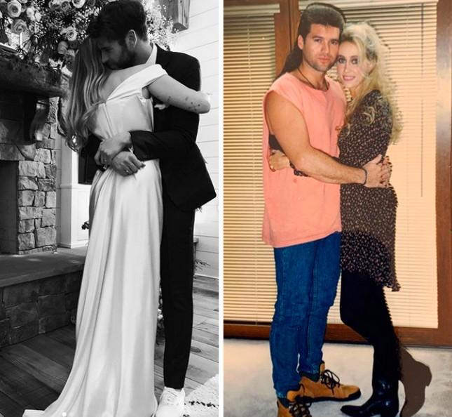 Uma foto do casamento de Miley Cyrus e Liam Hemsworth e um registro do casamento dos pais da cantora (Foto: Instagram)
