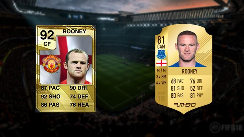 Ídolo do United, Rooney já não é o mesmo em Fifa 18, apesar dos novos cabelos (Foto: Reprodução/Murilo Molina)