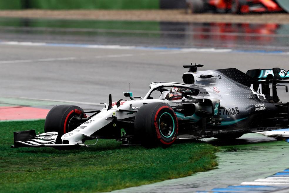 Um dos raros erros de Hamilton nos últimos anos se deu no GP da Alemanha de 2019 — Foto: Getty Images