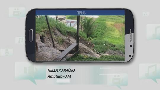 Tô na Rede: Terreno cede durante forte chuva em Amaturá, no AM