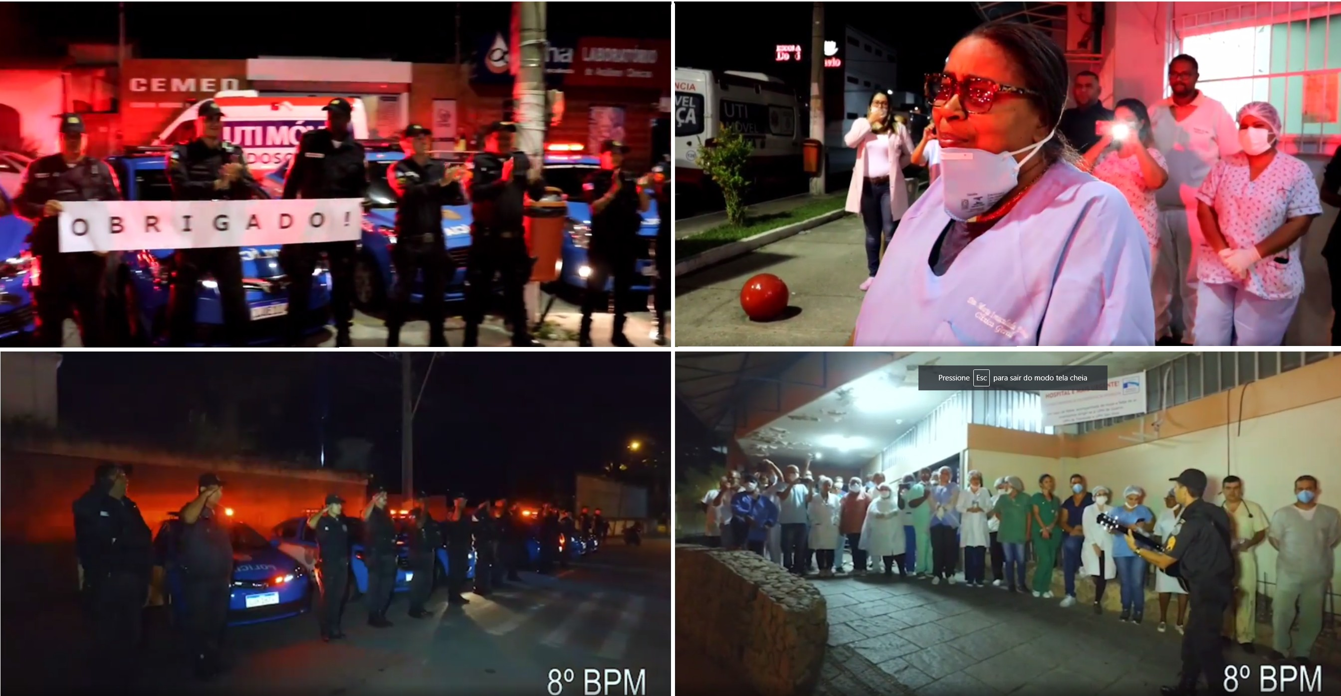 Policiais militares surpreendem equipes de saúde em hospitais do RJ com continência, música e aplausos