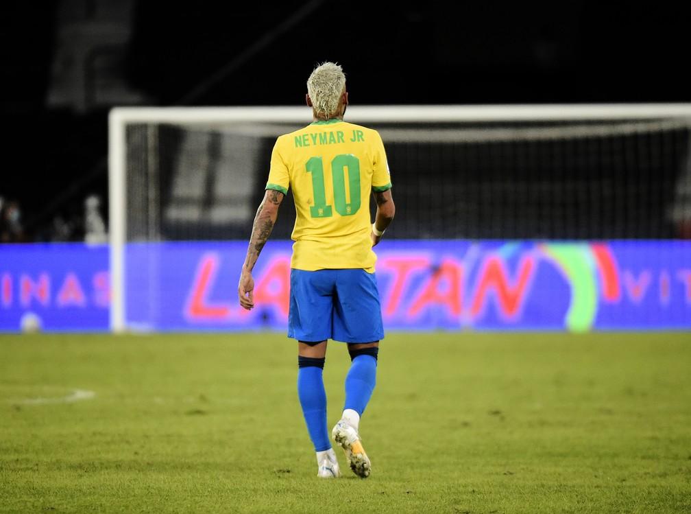 Neymar participou das jogadas dos quatro gols do Brasil contra o Peru — Foto: André Durão