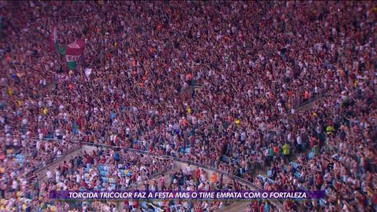 Apesar de empate com o Fortaleza, torcida do Fluminense faz festa no Maracanã em dia de despedidas