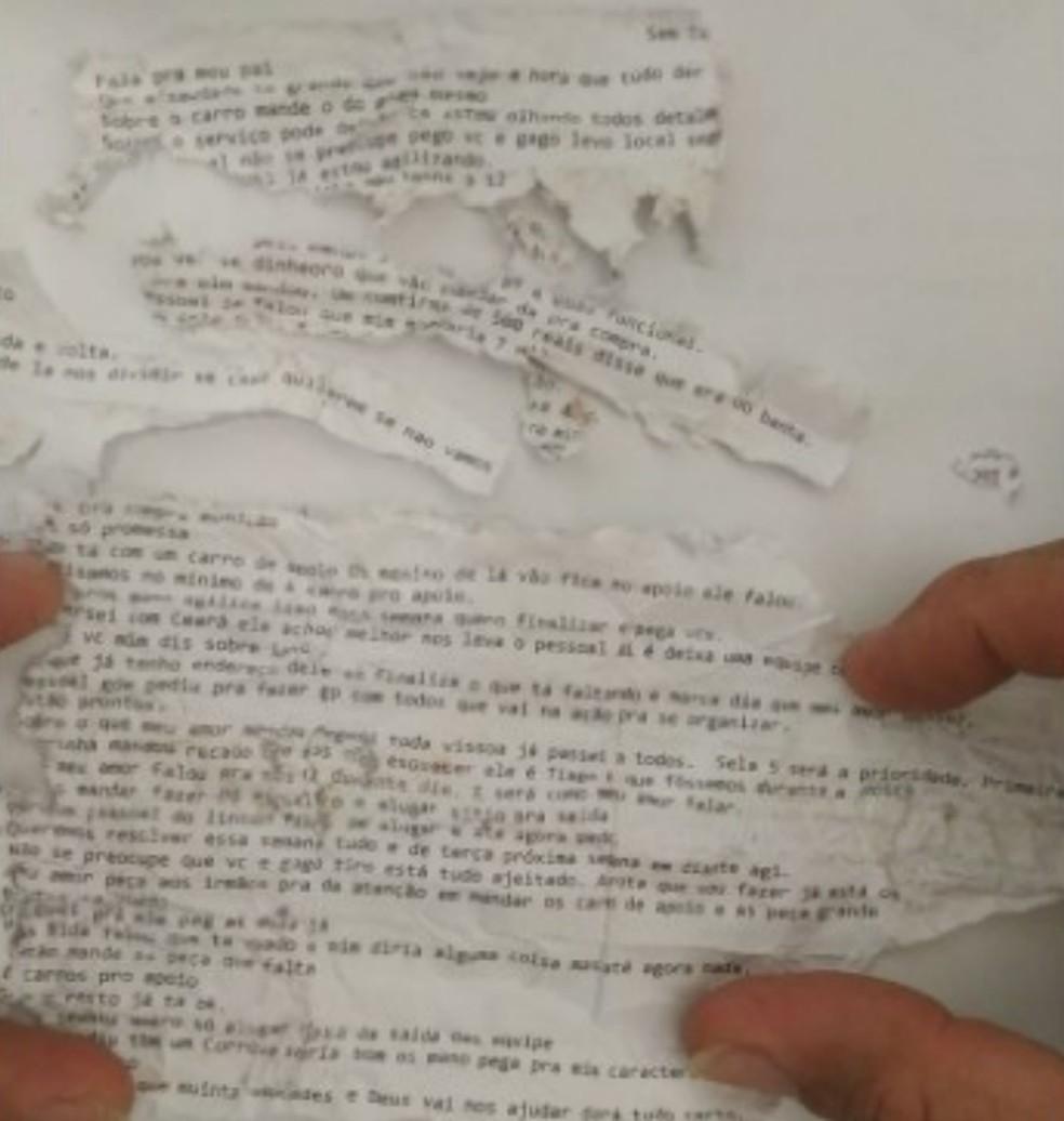 Advogada entregou um plano de fuga para um detento que estava preso dentro de um presídio no Ceará. — Foto: Polícia Civil do Ceará
