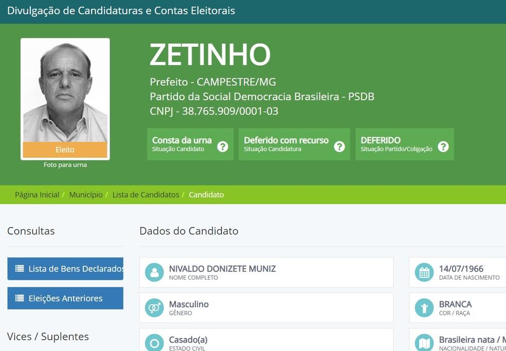 Prefeito eleito de Campestre tem registro indeferido pelo TSE — Foto: Reprodução / DivulgaCand