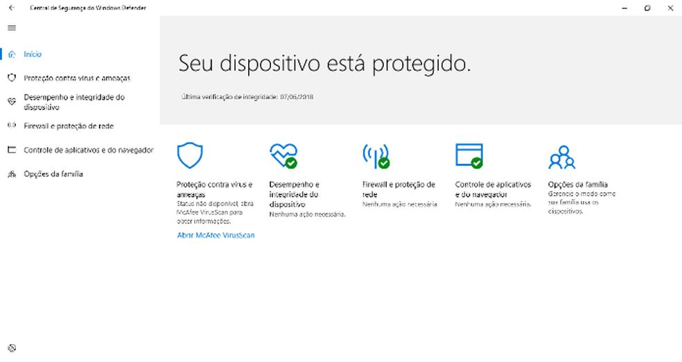 A Central de Segurança do Windows Defender notifica sobre atualizações de drivers e do sistema operacional (Foto: Reprodução/Daniel Ribeiro)