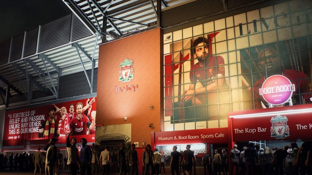 Área externa do Anfield, estádio do Liverpool, no FIFA 21 — Foto: Divulgação / EA Sports