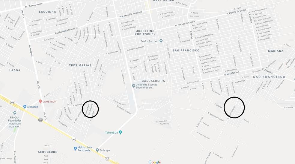 Home fez primeira vítima no bairro Renascer (círculo à direita) e foi morto na frente de casa no bairro Universitário (à esquerda) — Foto: Maps/Reprodução