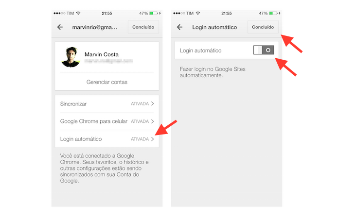 Desativando o login automático de sites do Google Chrome para iOS (Foto: Marvin Costa/TechTudo)