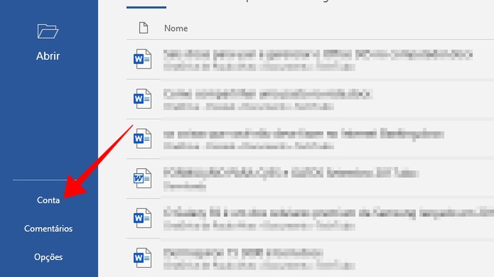 Acesse o menu de conta em um programa do Office no PC — Foto: Reprodução/Paulo Alves