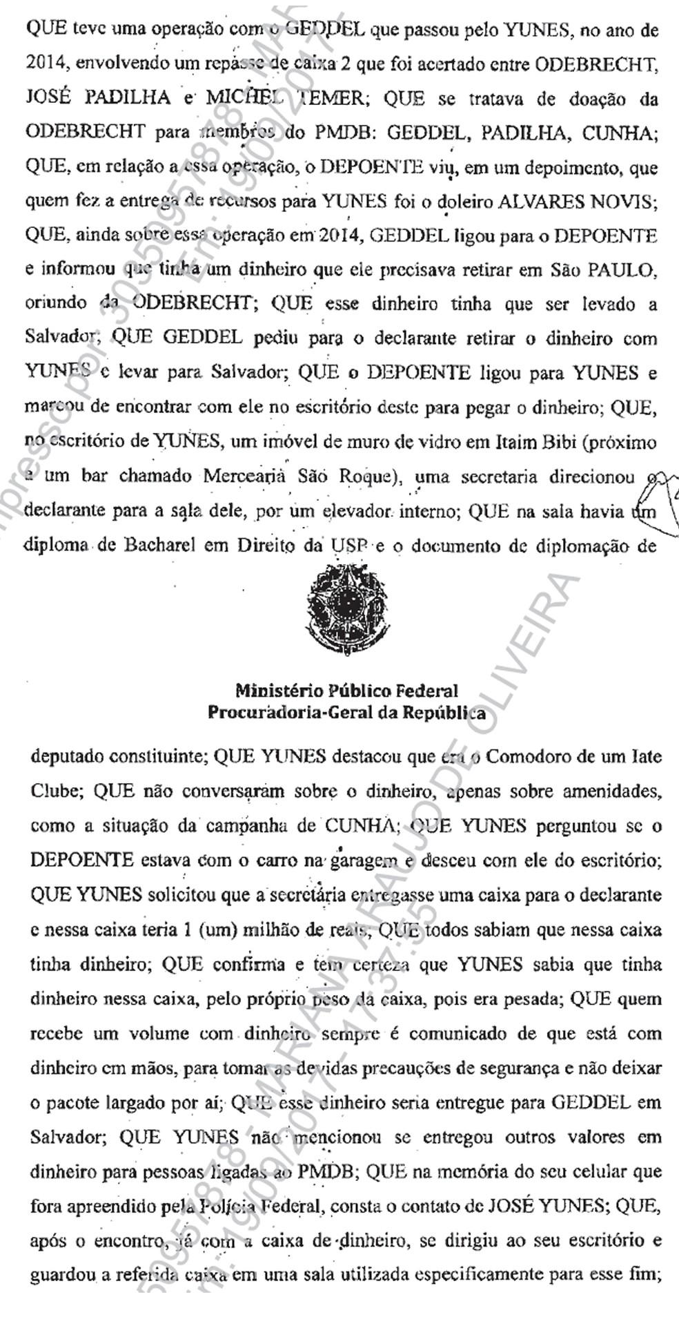 Trecho de depoimento da delação premiada de Lúcio Funaro, no qual o doleiro relata episódio envolvendo o advogado José Yunes (Foto: Reprodução/PGR)