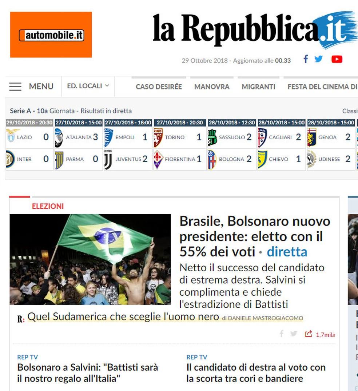 'La Repubblica' divulga resultado da eleição presidencial brasileira — Foto: Reprodução/La Repubblica