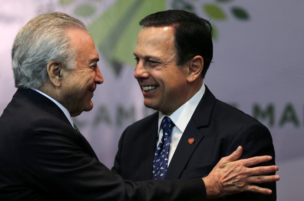 Michel Temer, Joao Doria, ceremonia, Sao Paulo, campo de marte (Foto: Paulo Whitaker/Reuters)