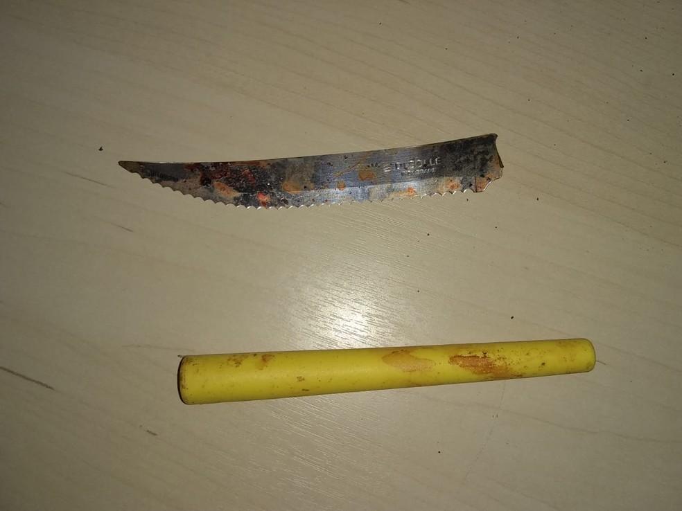 Suspeito usou caca de serra no crime — Foto: Aroldo Tavares/Arquivo Pessoal