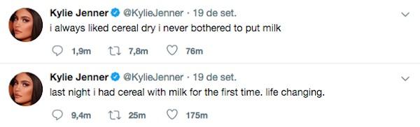 As afirmações de Kylie Jenner dizendo ter comido cereal com leite pela primeira vez (Foto: Twitter)