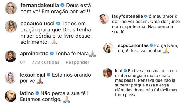 Celebridades enviam mensagens de apoio para Nara Almeida (Foto: Reprodução / Instagram)