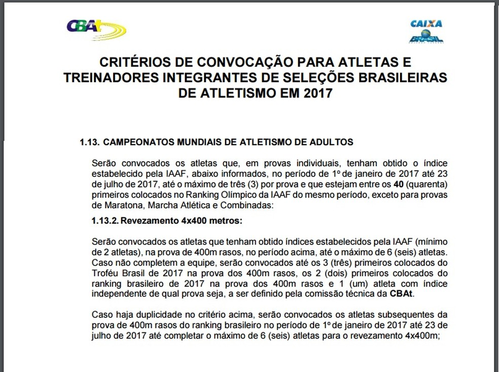 Texto expõe critérios de convocação para o 4x400m e gera divergência entre CBAt e atletas (Foto: Reprodução / site CBAt)