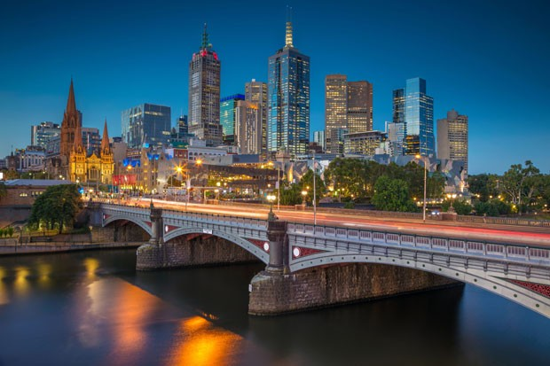 Cityscape image of Melbourne, Australia during twilight blue hour. (Foto: Getty Images/iStockphoto)