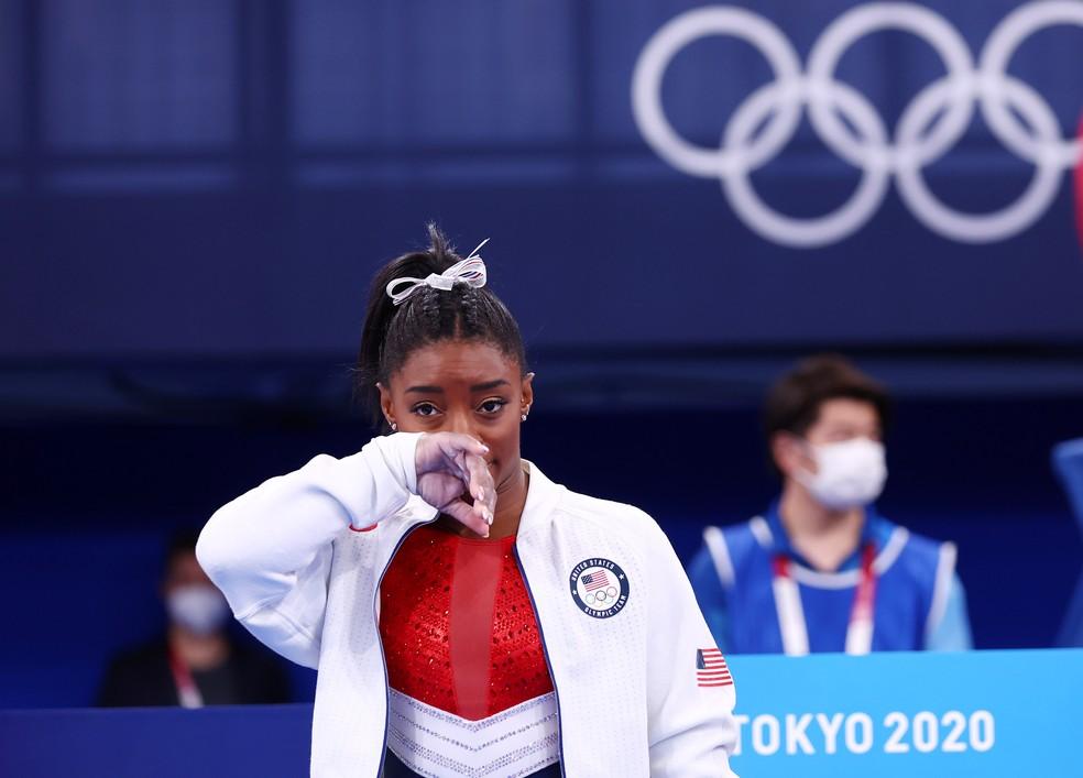 Simone Biles durante finais da ginástica — Foto: REUTERS/Mike Blake