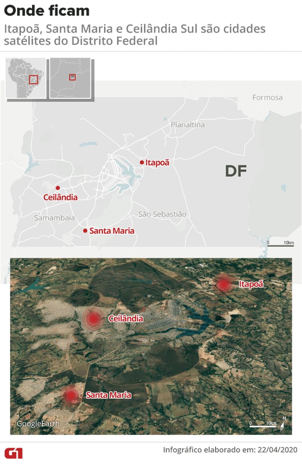 Onde ficam Itapoã, Santa Maria e Ceilândia, cidades satélites do DF — Foto: Juliane Souza