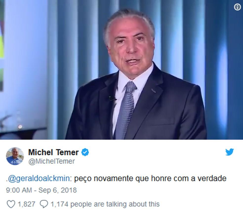 Em novo vídeo, Temer pede para que Alckmin 'conte a verdade' sobre o apoio do PSDB ao governo (Foto: Reprodução/Twitter)
