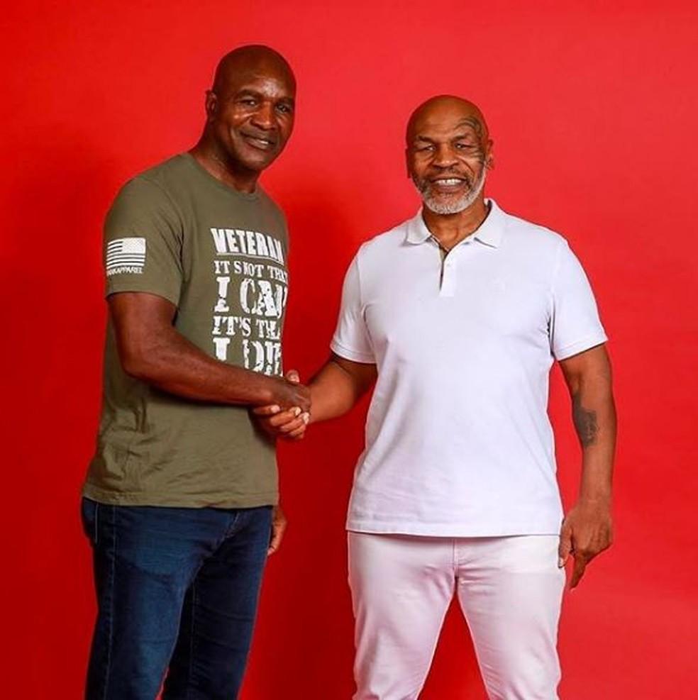 Evander Holyfield e Mike Tyson: luta 3 vai acontecer? — Foto: Reprodução/Instagram