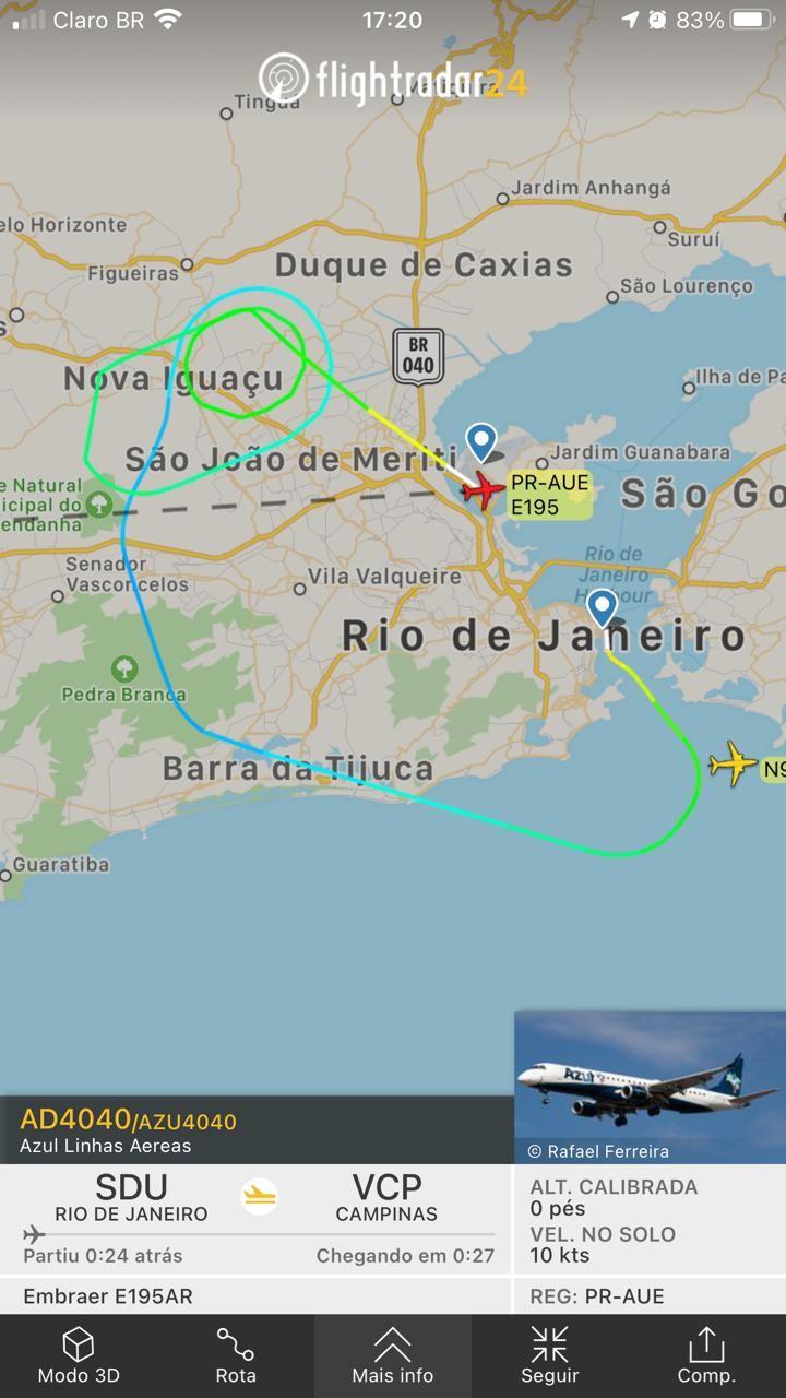 Avião da Azul faz pouso de emergência no Galeão após piloto relatar fumaça a bordo