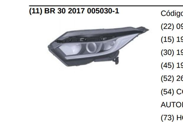 Farol registrado do HR-V é mais simples e tem elementos internos redesenhados (Foto: Reprodução)