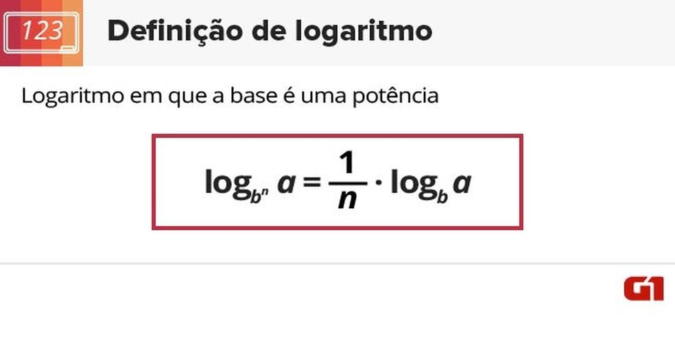 Fórmula em que base é uma potência (Foto: Arte/G1)