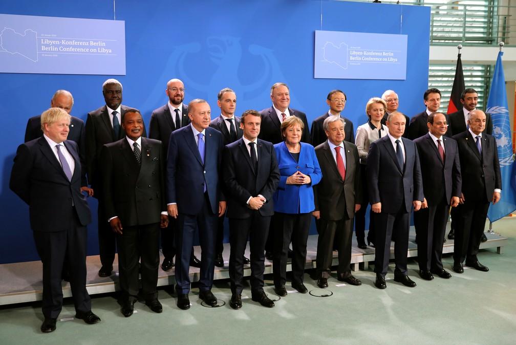 Líderes mundiais participam em Berlim de encontro sobre a Líbia — Foto: Murat Cetinmuhurdar/Turkish Presidential Press Office/Handout via Reuters