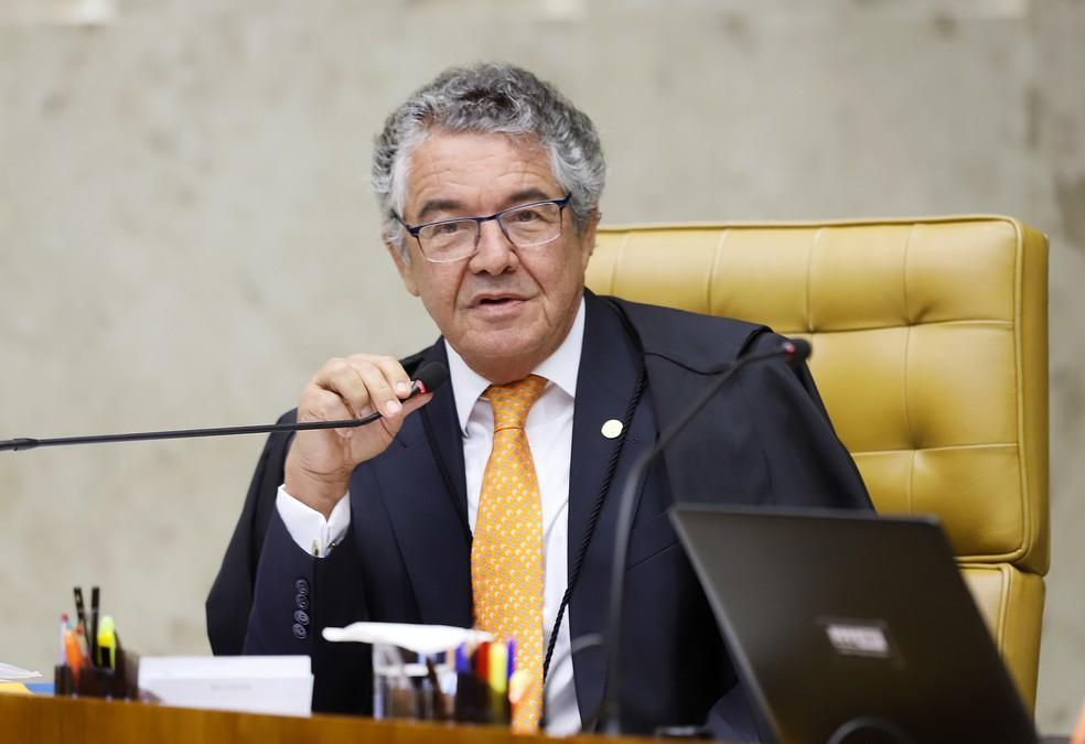 O ministro Marco Aurélio Mello durante sessão do Supremo Tribunal Federal — Foto: Rosinei Coutinho/STF