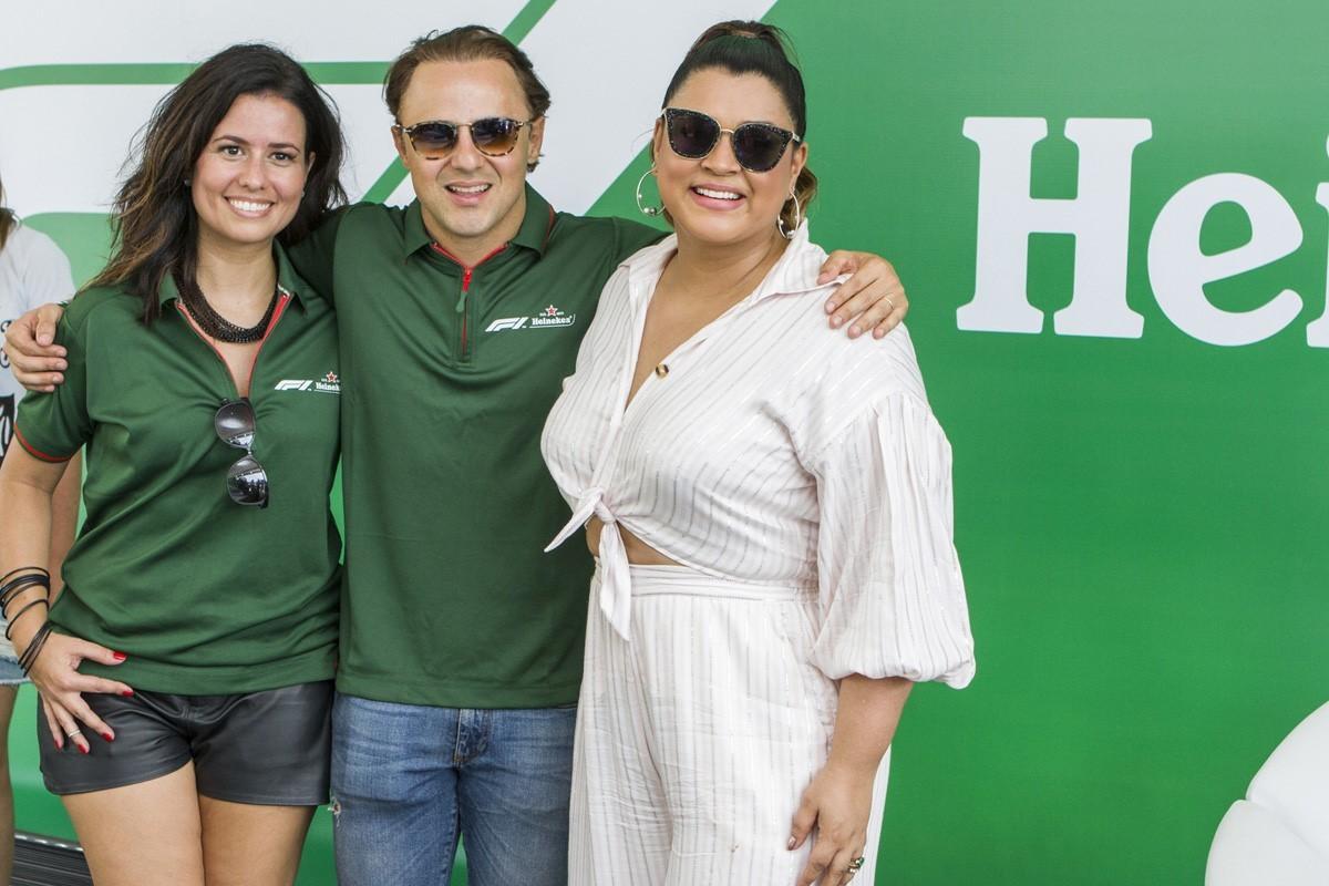 Vanessa Brandão (diretora da marca Heineken), Felipe Massa e Preta Gil  (Foto: Carlos Miller)