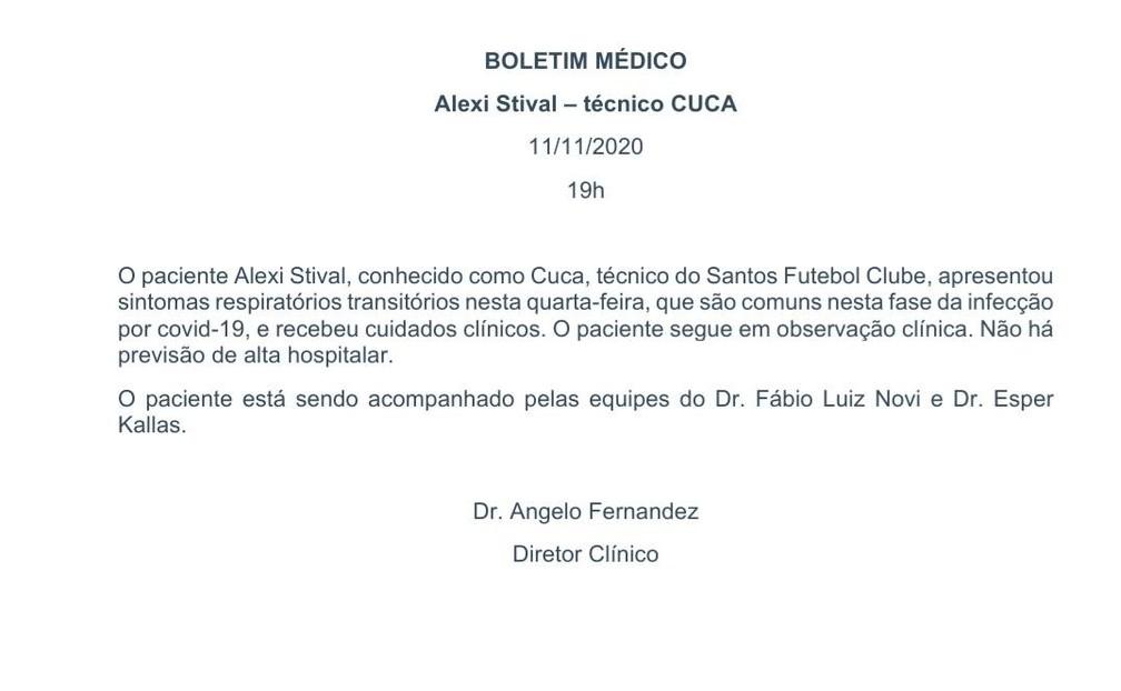 Boletim médico sobre Cuca, técnico do Santos, divulgado pelo Hospital Sírio-Libanês nesta quarta — Foto: Divulgação