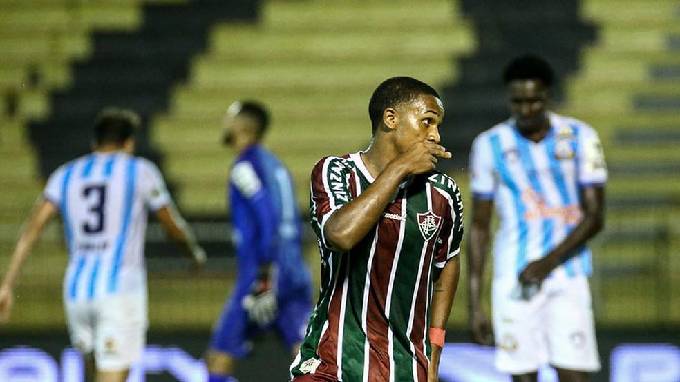 Kayky, Fluminense, comemoração, gol — Foto: Lucas Merçon / Fluminense FC