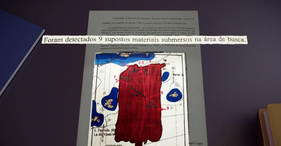 Sonar detectou 9 objetos no fundo do mar perto da Barra da Tijuca — Foto: Reprodução/TV Globo