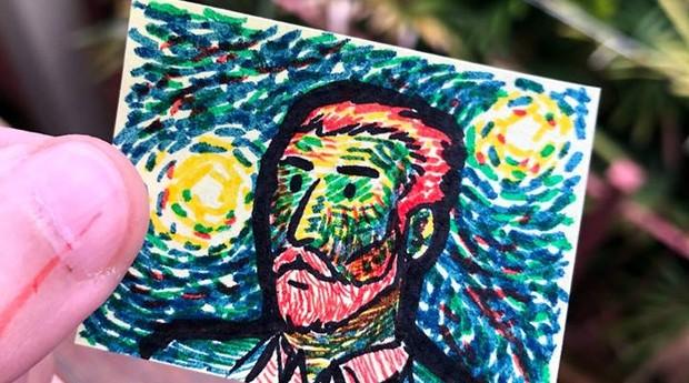 Post-it feito pela Dobra com desenho inspirado em Van Gogh (Foto: Divulgação)