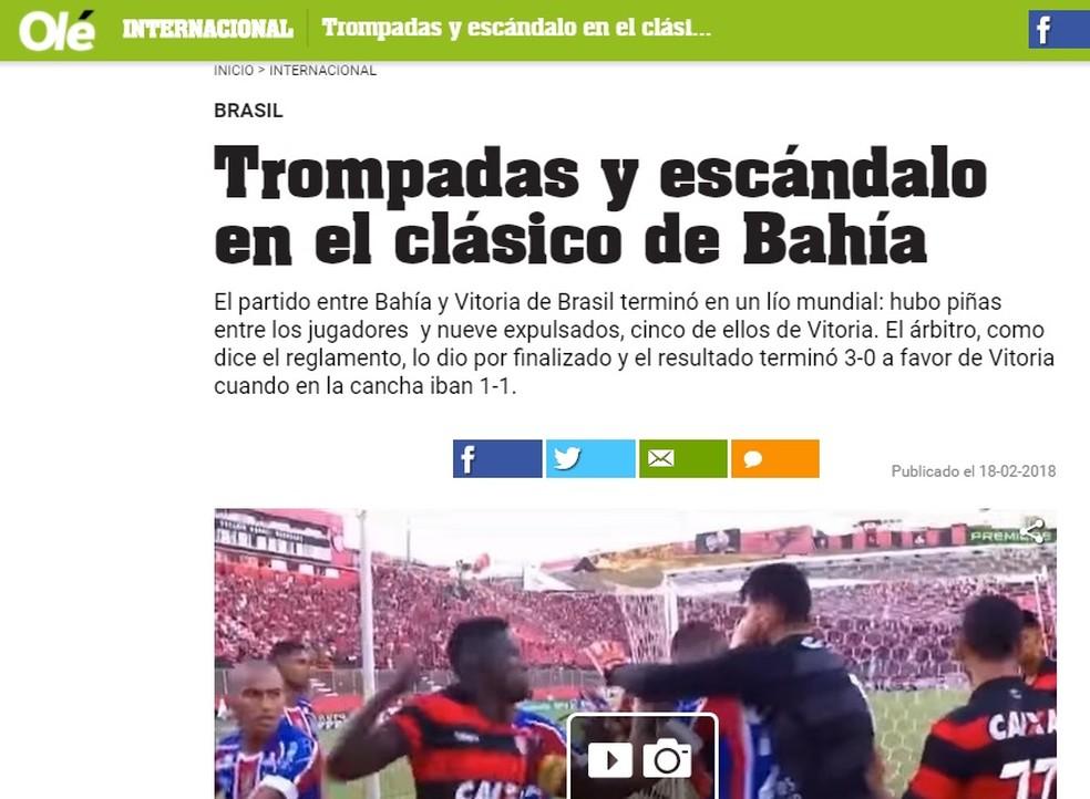 Olé repercutiu a confusão ocorrida após o gol de Vinícius (Foto: Reprodução)