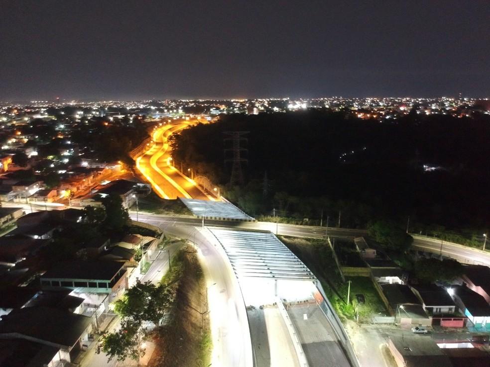 Avenida das Flores, em Manaus, tem inauguração para fim de novembro — Foto: Leandro Viana/Seinfra