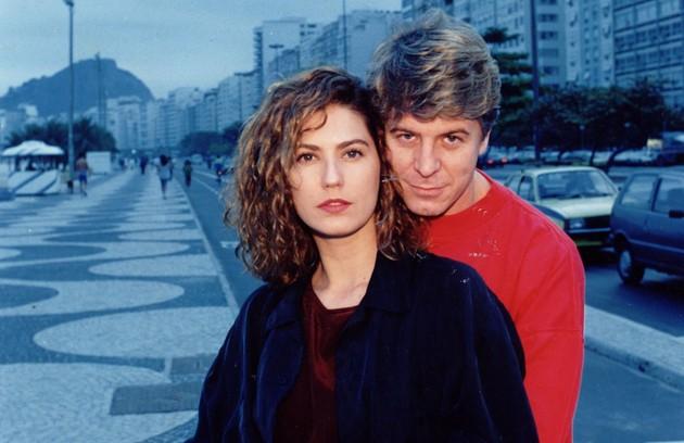 Com Patrícia Pillar na série 'As noivas de Copacabana' (1992), na qual interpretava um serial killer (Foto: Arquivo)