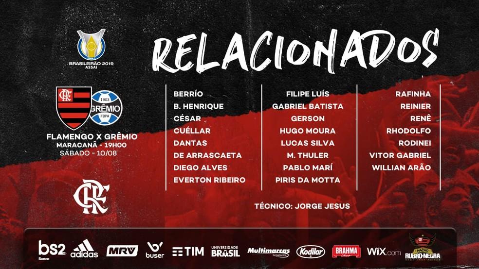 Os relacionados do Flamengo para o duelo com Grêmio — Foto: Divulgação