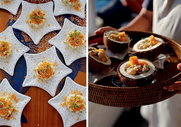 Lifestyle Paraty - Duas das especialidades do bufê: Tartar de Pupunha e Ceviche no Coco  (Foto: Rogério Voltan)