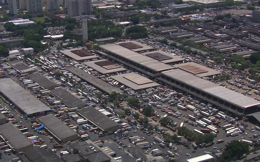 Sede atual da Ceagesp, na Vila Leopoldina, Zona Oeste de São Paulo — Foto: TV Globo/Reprodução