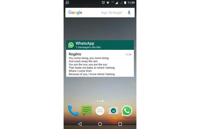 Widget do WhatsApp permite ler mensagens sem abrir o app (Foto: Reprodução/Raquel Freire)