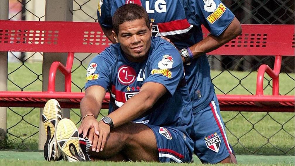 Flávio Donizete, em treino do São Paulo — Foto: Sérgio Castro/Estadão