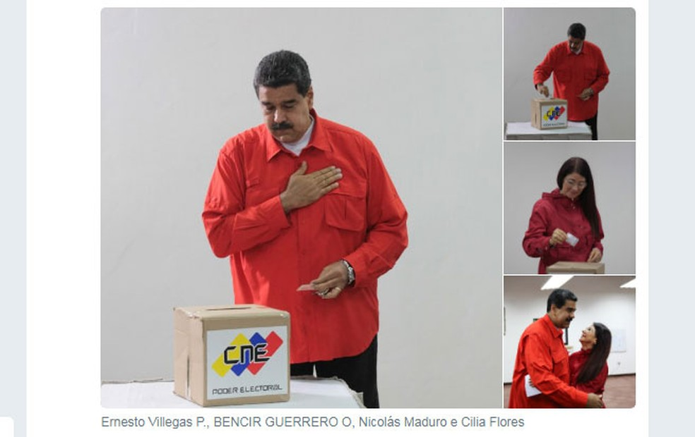 Nicolás Maduro foi o primeiro a votar neste domingo em Caracas (Foto: Reprodução/Twitter)