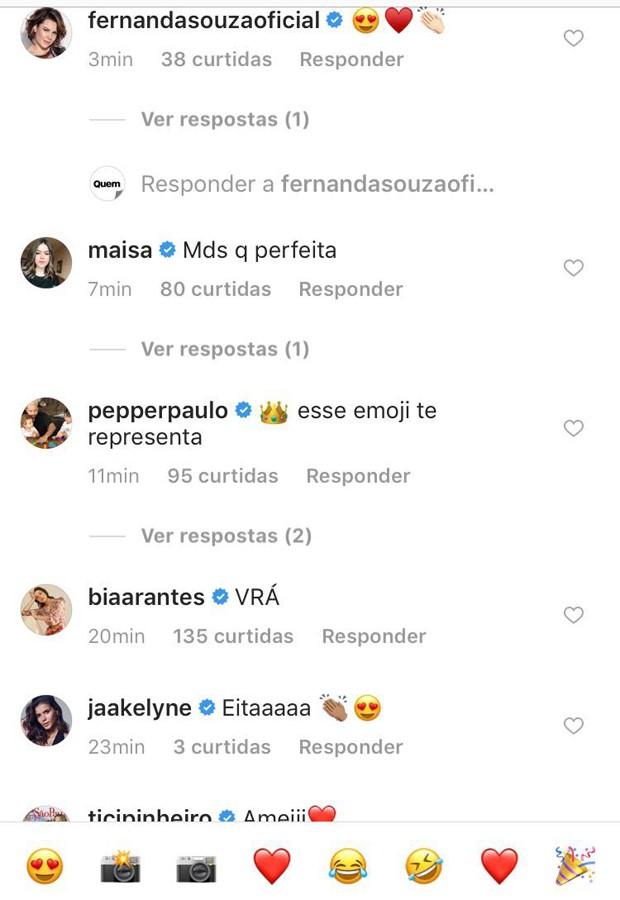 Comentários de famosas (Foto: Reprodução/Instagram)