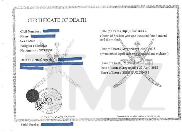 Certificado de morte de Avicii divulgado pelo TMZ (Foto: Reprodução do site TMZ)