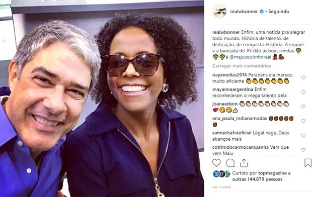 Maria Júlia Coutinho e William Bonner (Foto: Reprodução/Instagram)