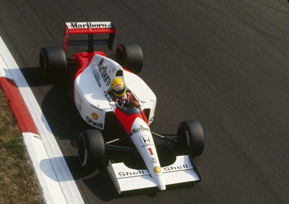 Ayrton Senna acelera McLaren-Honda em Monza, em 1991 — Foto: Getty Images