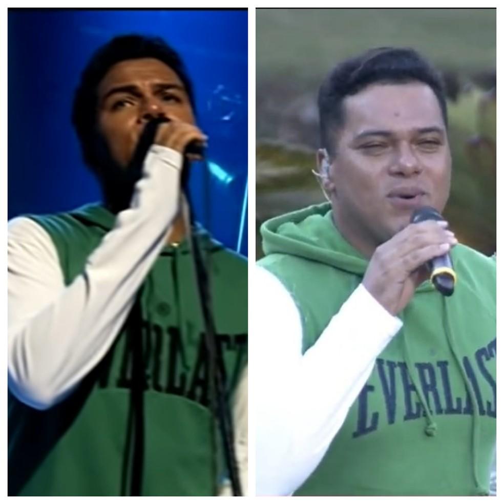 Bruno do Sorriso Maroto repetiu a roupa do primeiro DVD, de 2005 (esquerda) na live de 2020  — Foto: Reprodução